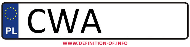 Car plate CWA, city Wąbrzeźno