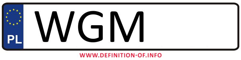Car plate WGM, city Grodzisk