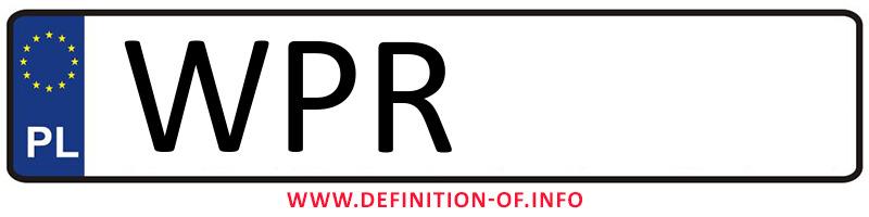 Car plate WPR, city Pruszków