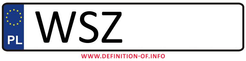 Car plate WSZ, city Szydłowiec