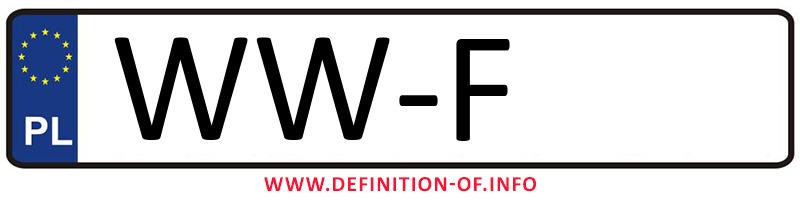 Car plate WW-F, city Warszawa-Wilanów
