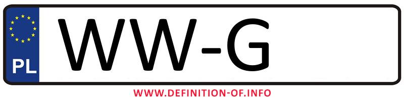 Car plate WW-G, city Warszawa-Wilanów