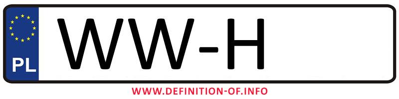 Car plate WW-H, city Warszawa-Wilanów
