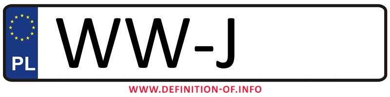 Car plate WW-J, city Warszawa-Wilanów