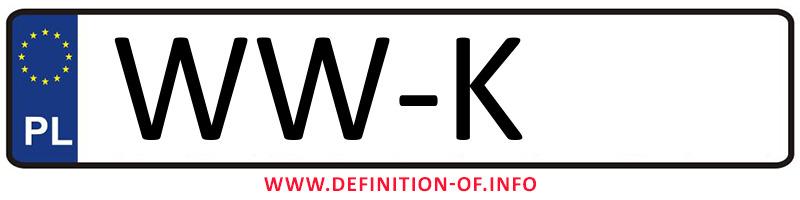 Car plate WW-K, city Warszawa-Włochy