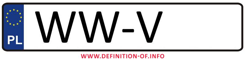 Car plate WW-V, city Warszawa-Włochy