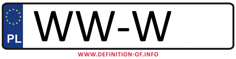 Car plate WW-W, city Warszawa-Wilanów