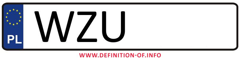 Car plate WZU, city Żuromin