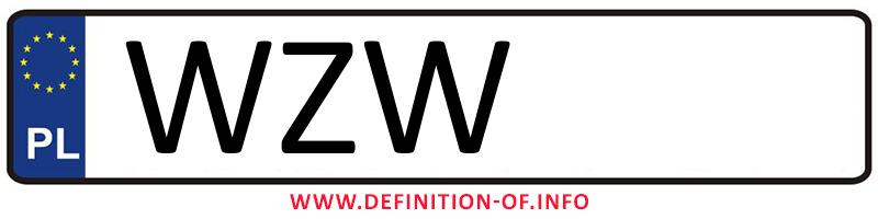 Car plate WZW, city Zwoleń